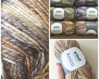 Cotton summer yarn Amica from Gründl earthy colours browns beige copper and white colours for needle size 3.5 - 4.5 100g per ball 300 meter