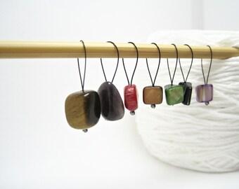 Stone Stitch Marker, Stitch Marker Set, Knitting Markers, Snag Free Stitch Marker, Natural Stitch Markers, Knitting Gift, Knitting Tools