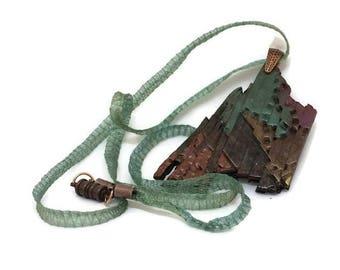 Wearable Art pendant, polymer clay, mosaic,