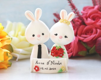 Bunny wedding cake toppers - Rabbit bride and groom figurines personalized animals rustic country cute white red yellow navy blue decoration