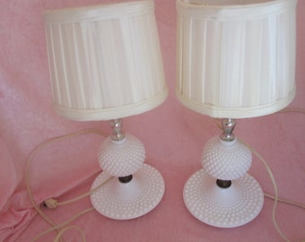 Pair of White Milk Glass Hobnail Table Lamps with Shades