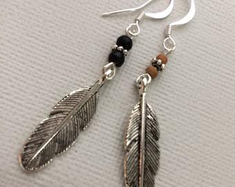 Mens Single Earring, Mens Feather Earring, Long Single Earring, Silver Feather, Sandalwood or Dark Wooden Mens Earrings, Mens Jewelry