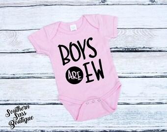 Boys are ew, Baby girl bodysuit, Baby shower gift, Baby gift, Baby girl shirt, Baby girl outfit, New baby gift, Feminist onesie, Baby Shirt