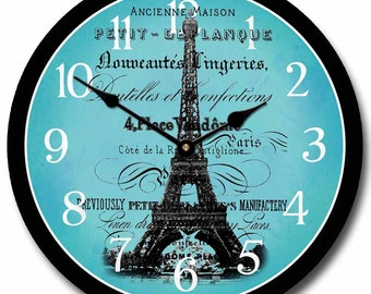 Paris Love Teal Wall Clock
