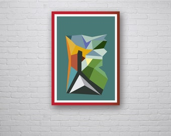 Entrance: Contemporary Modern Isometric 3D Geometric Graphic Design Art Poster