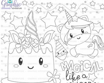 Unicorn Stamp, Birthday Stamp, COMMERCIAL USE, Digi Stamp, Digital Image, Party Digistamp, Unicorn Coloring Page, Unicorn Clipart