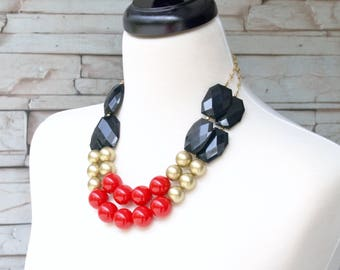 Chunky Necklace - Beaded Necklaces - Red Necklace - Statement Necklace - Bib Necklace - Multi Strand Necklaces - Formal Jewelry
