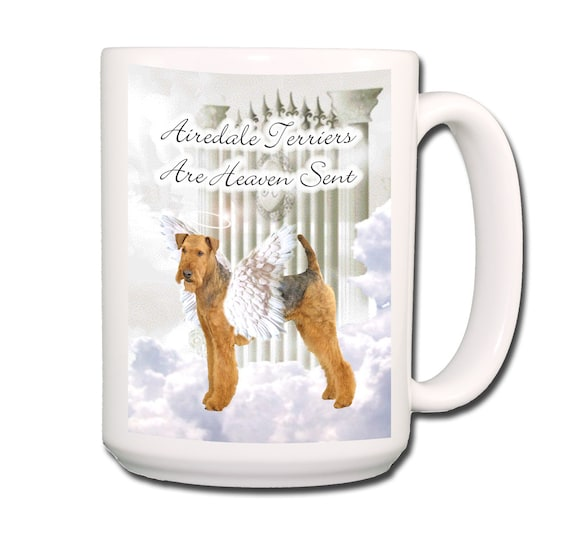 Airedale Terrier Heaven Sent Large 15 oz Coffee Mug