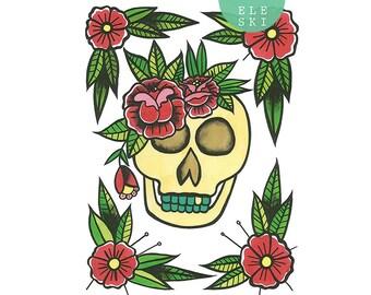 Skull n' Roses- A3 print
