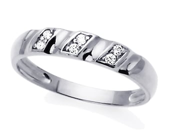 Men 14K White Gold CZ Concaved Wedding Band Ring / Free Gift Box(ATR243WW)