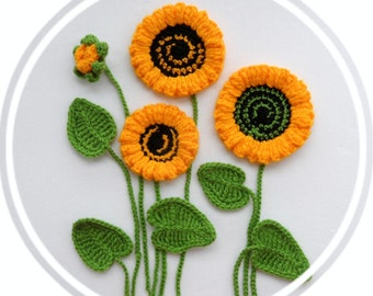 Crochet Applique -  Sunflowers and Leaves Set - Made to Order