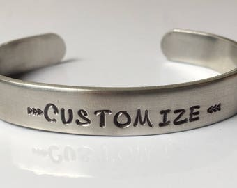 """Customized Hand Stamped Bracelet, 3/8"""" thick, Personalize your own"""