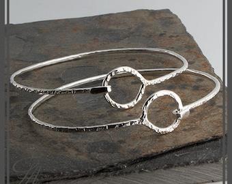 Hammered Cuff Karma Bracelet, Eternity Bracelet, Silver Bangle Bracelet, Eternity Circle, Cuff Bracelet, Sterling Silver, Handmade Cuff