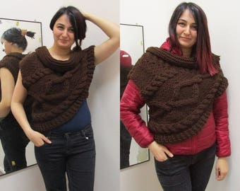 Katniss Huntress Cowl Vest Armor Knitting all Adult Sizes and Colors asymmetric Cowl, Huntress Vest Brown Many Colors and Options Available.