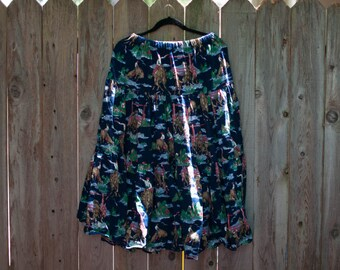 1990's Plus Size Cowboy Horse Western Farm Rodeo Skirt
