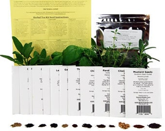 Herbal Tea Herb Garden Seed Collection - Grow Chamomile, Peppermint, Anise, Lavender, Angelica, Lemon Bergamot & More