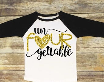 Fourth Birthday Shirt | Un-Four-Gettable | 4th Birthday Outfit | Toddler Girls
