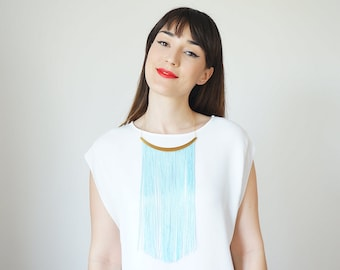 Blue Fringe Necklace Statement Necklace Blue Dress Blue Outfit Gold Necklace Winter Fashion Boho Necklace Gypsy Necklace/ CHEORA