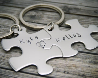 Personalized Keychains for Couples, Name Keychains with connecting heart, Anniversary Gift, Couples Keychains, Boyfriend Girlfriend gift