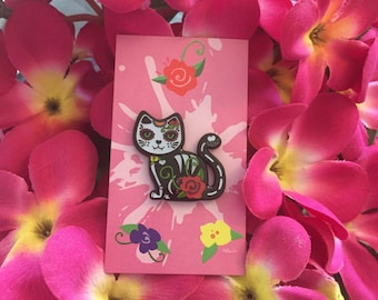 Day of the Dead Cat Pin