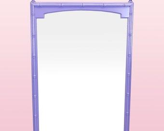 Mid Century Lavender Faux Bamboo Mirror - Vintage Purple Mirror - 1970s Mirror
