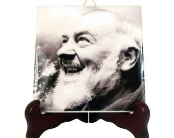 Padre Pio of Pietrelcina - St Pio gift idea - Saint Pio icon on tile - Saint Pio art - italian saints - Saint Padre Pio - Padre Pio icon