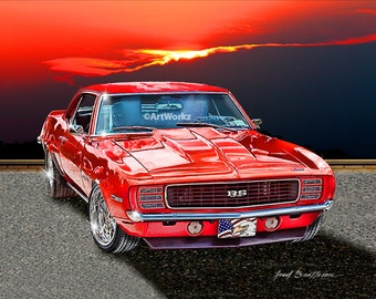 Muscle Car - 1969 Chevrolet Camaro - Classic Car print - Hot Rod Art - 8x10 GicleePrint w/ 11 x 14 Mat, AW2