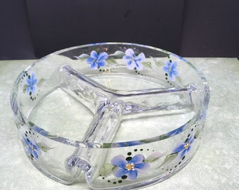 Candy Dish Unusual and Unique Clear Glass Hand Painted Round Blue Floral Wedding Table Centerpiece Decor Unique Gift Idea Table Decor