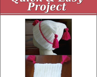 Crochet PATTERN Tassel Hat, Quick and Easy Project, Instant Download