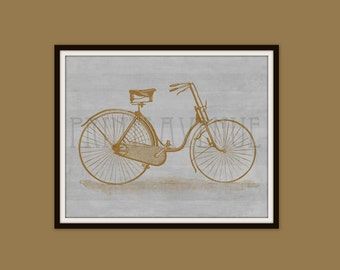 Vintage BICYCLE Art Print, BIKE Wall Art, Bicycle Wall Decor, by Prints Avenue