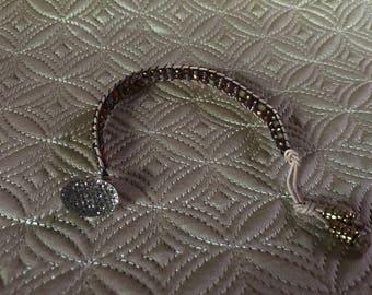 Metallic Copper Mixed Color Beaded Wrap Bracelet