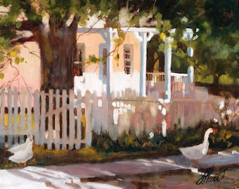 White House Oil Painting, Geese Painting, White Picket Fence Painting, House Painting, White Painting with Light