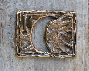 Hefty Moon Bracelet Link or Clasp, Red Bronze, Artisan, Lost Wax Cast, Ocean, L1B