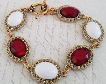Red & White Vintage Link Bracelet