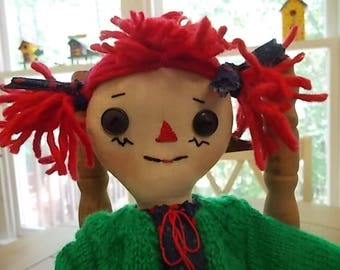 "Handmade 12"" Primitive Annie Rag Doll"