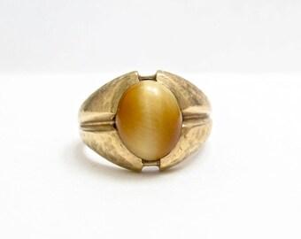 Vintage Gold Ring, Cats Eye Ring, Vintage Ring, Vintage 10KT GOLD Ring, Golden Cats Eye Ring, Size 10 , Vintage Mens Ring