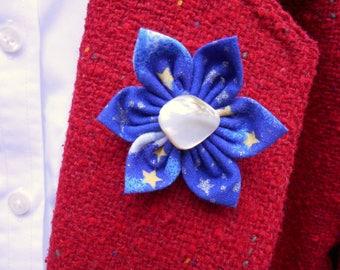 Kanzashi Fabric Flower Pin, Lapel Pin, Hat, Accessory and Boutonniere Pin
