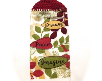Dream Peace Imagine Hand Towel With Claret Crocheted Top