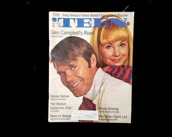 Teen Magazine, July 1968 Issue, Teen Fashion, Teen Beauty, Teen Entertainment, 60s Culture, Glen Campbell