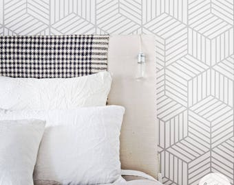 Removable Wallpaper / Cube Pattern Geometric Wallpaper / Traditional or Self Adhesive Wallpaper