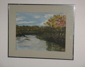 Sale Price! Vintage original watercolor painting landscape trees lake signed 1970's