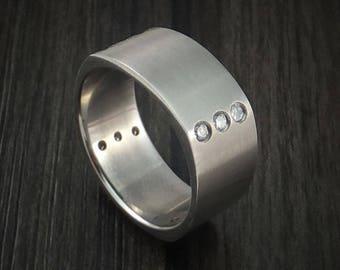 Titanium square ring with 12 diamonds custom made band