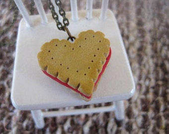 Heart Cookie Necklace _ 1/12 Dollhouse Scale Miniature Food _ Polymer Clay
