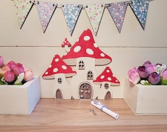 Fairy Door Elf or Hobbit door Fairy Hotel Toadstool Red