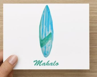 Thank you cards: Personally designed card with watercolor surfboard.  Mahalo!  Multiple pack sizes available.