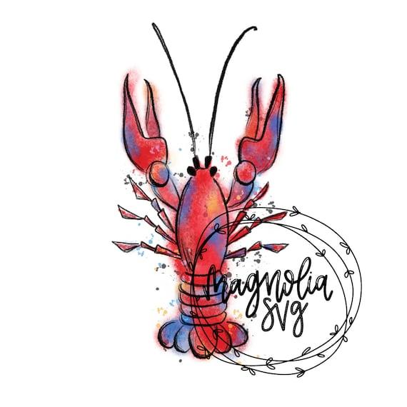 crawfish watercolor clip art hand painted watercolor crawfish rh etsy com