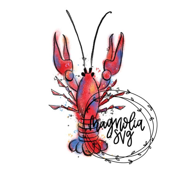 crawfish watercolor clip art hand painted watercolor crawfish rh etsy com  cute crayfish clipart