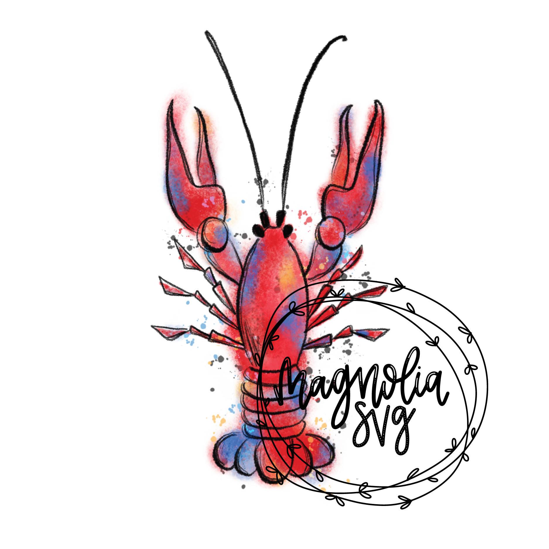 crawfish watercolor clip art hand painted watercolor crawfish rh etsy com crayfish clipart Crawfish Boil Invitations Clip Art