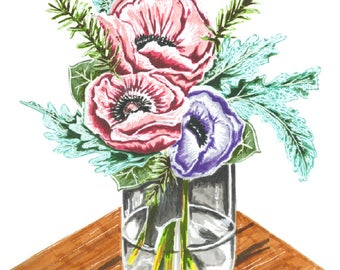 Anemonen Sketchbook Serie Marker Illustration