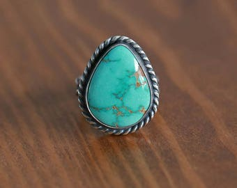 Carico Lake Turquoise Ring, Sterling Silver Ring -- US Size 6.5